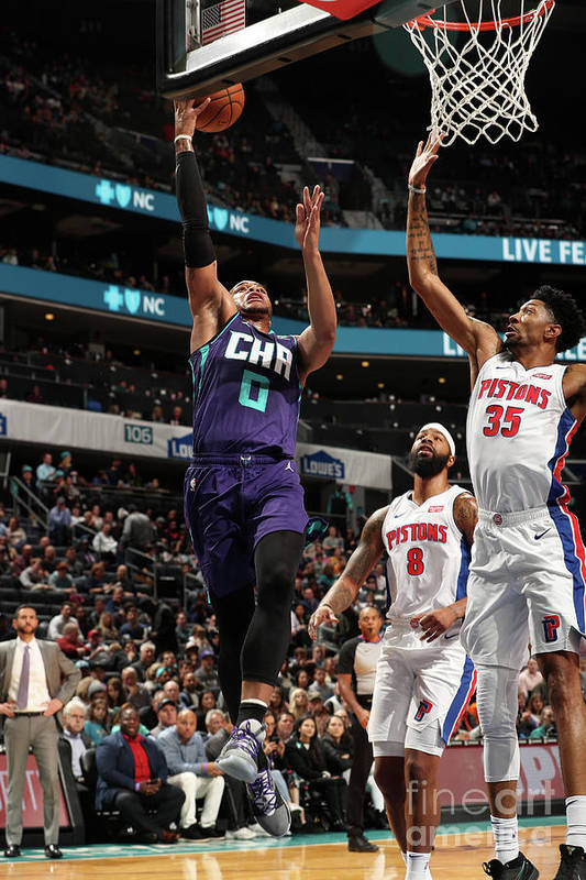 Nba Pro Basketball Art Print featuring the photograph Detroit Pistons V Charlotte Hornets by Kent Smith