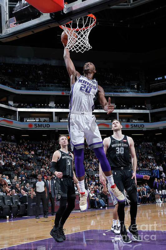 Nba Pro Basketball Art Print featuring the photograph Detroit Pistons V Sacramento Kings by Rocky Widner