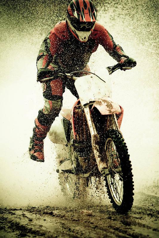 Crash Helmet Art Print featuring the photograph Dirt Bike Rider by Thorpeland Photography