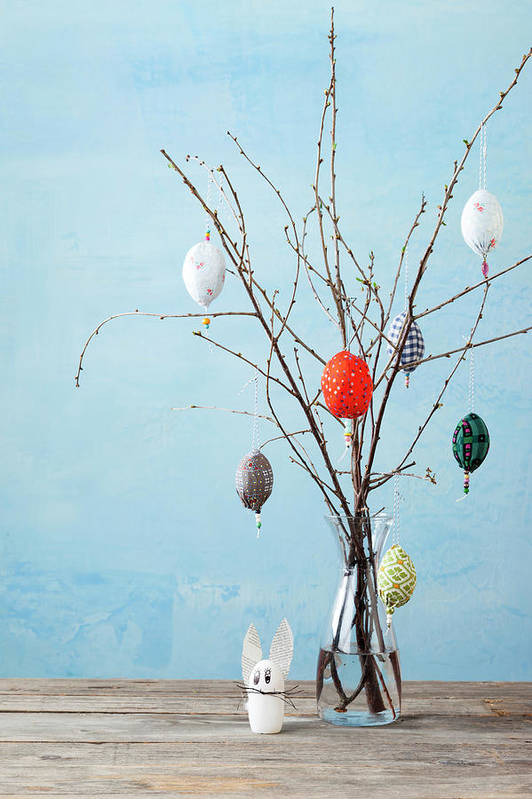 Holiday Art Print featuring the photograph Egg-shaped Decorations On Branches by Stefanie Grewel