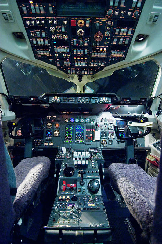 Cockpit Art Print featuring the photograph Empty Aeroplane Cockpit by Moodboard