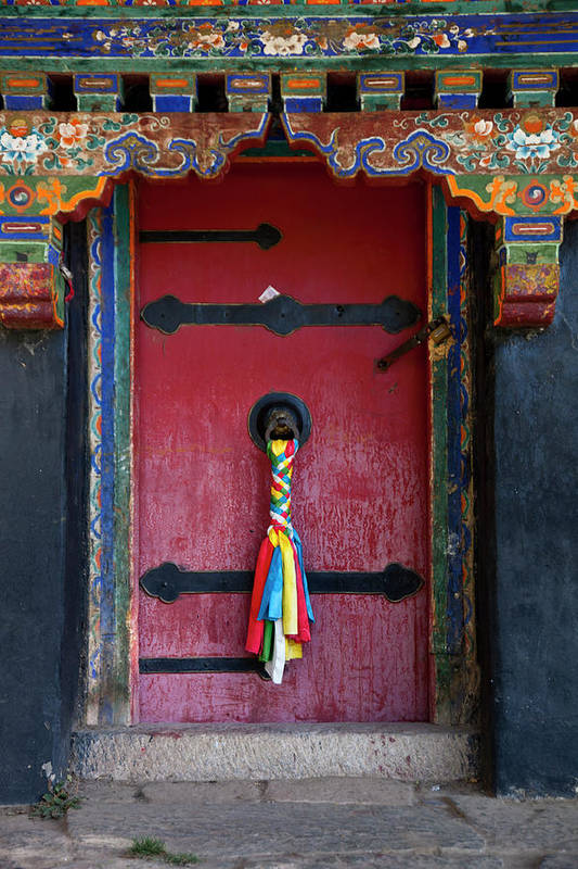Chinese Culture Art Print featuring the photograph Entrance To The Tibetan Monastery by Hanhanpeggy