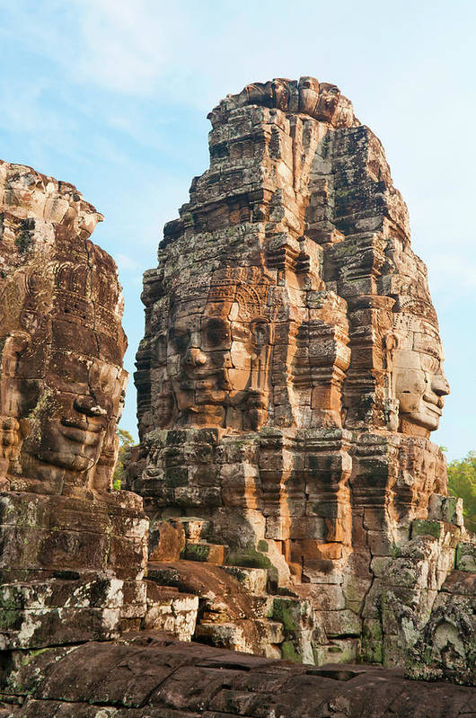 Cambodian Culture Art Print featuring the photograph Faces On Bayon Temple Cambodia by Leezsnow