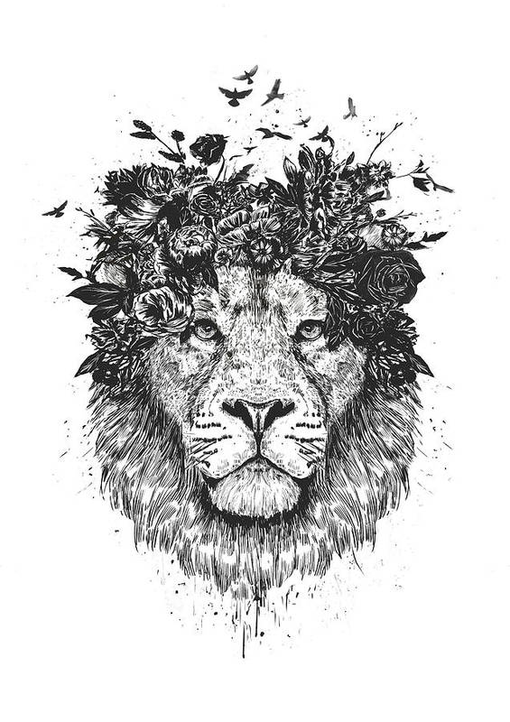Lion Art Print featuring the drawing Floral lion by Balazs Solti