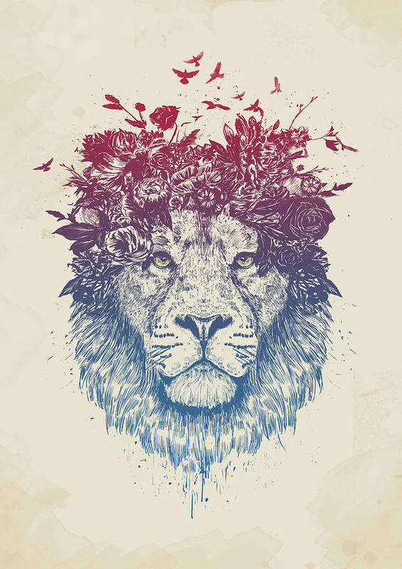 Lion Art Print featuring the drawing Floral lion III by Balazs Solti