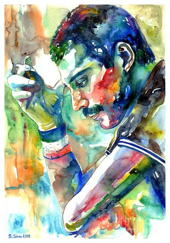 Freddie Mercury Art Print featuring the painting Freddie Mercury With Cigarette by Suzann Sines