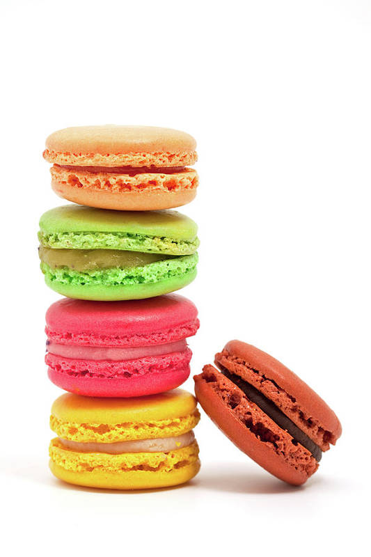 White Background Art Print featuring the photograph French Macaroons by Ursula Alter