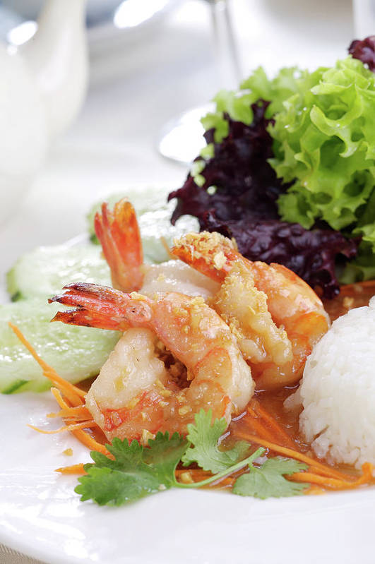 Thai Food Art Print featuring the photograph Fried Shrimps With Garlic by Shyman