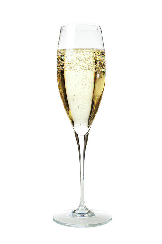 White Background Art Print featuring the photograph Glass Of Champagne by Gianluca Fabrizio