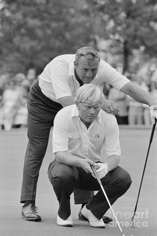 Playoffs Art Print featuring the photograph Golf Professionals Nicklaus And Palmer by Bettmann