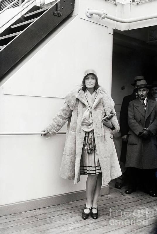 People Art Print featuring the photograph Greta Garbo Sailing On Ship by Bettmann