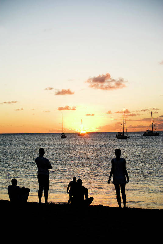 Recreational Pursuit Art Print featuring the photograph Group Of Young Friends On Beach At by Jaminwell