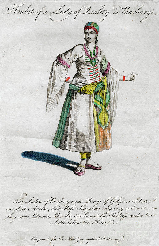 Engraving Art Print featuring the drawing Habit Of A Lady Of Quality In Barbary by Print Collector