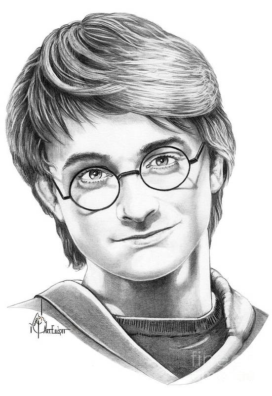 Drawing Art Print featuring the drawing Harry Potter by Murphy Elliott