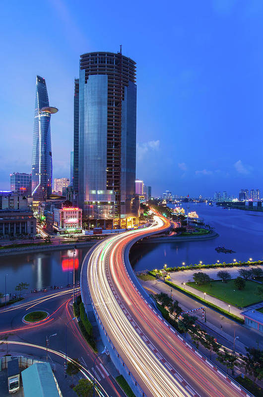 Ho Chi Minh City Art Print featuring the photograph Ho Chi Minh City At Night by Jethuynh