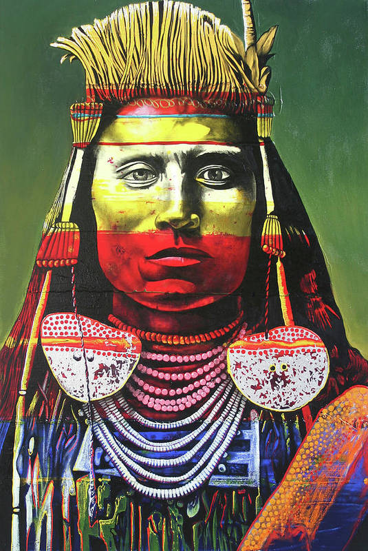 Indian Chief Art Print featuring the painting Indian Chief by Graeme Stevenson