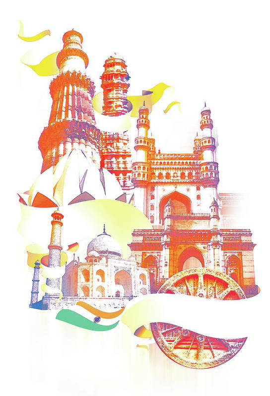 Architectural Feature Art Print featuring the digital art Indian Monuments Collage by Anand Purohit