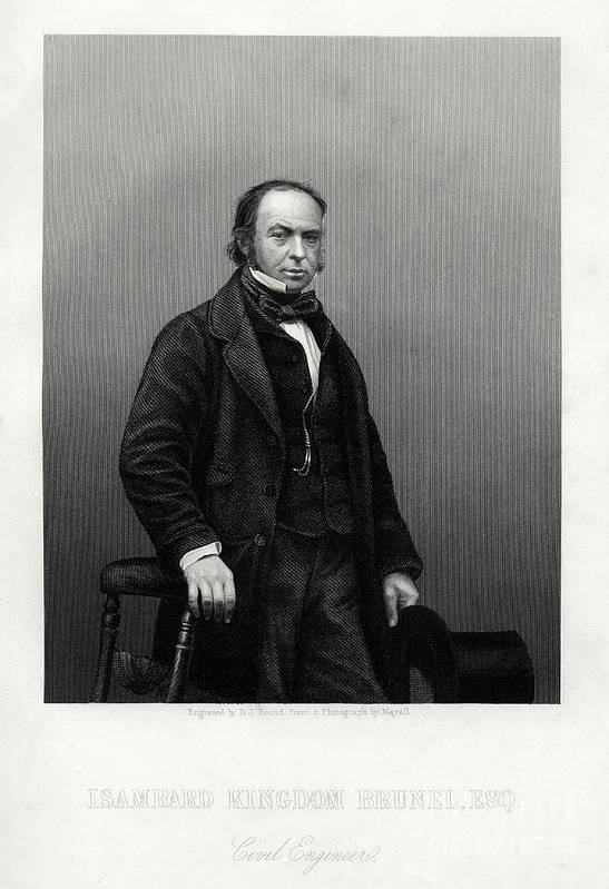 Engraving Art Print featuring the drawing Isambard Kingdom Brunel, British by Print Collector