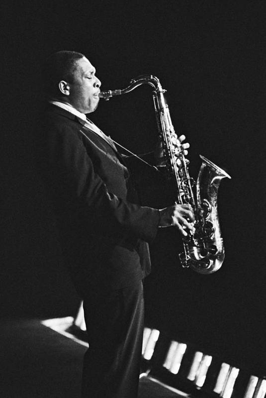 Concert Art Print featuring the photograph John Coltrane In Paris, France In 1963 - by Herve Gloaguen