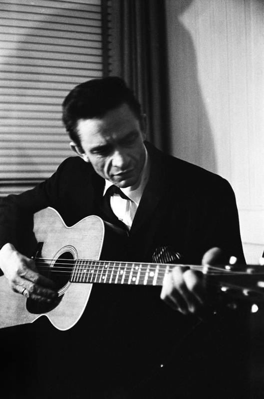 Johnny Cash Art Print featuring the photograph Johnny Cash At The New York Folk by Michael Ochs Archives