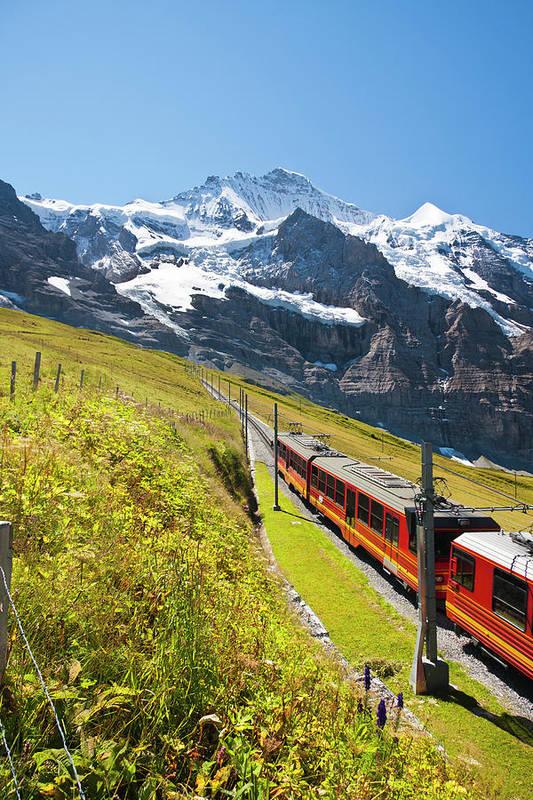 Scenics Art Print featuring the photograph Jungfraubahn, Swiss Alps by Michaelutech