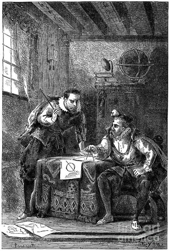 Physicist Art Print featuring the drawing Kepler And Brahe At Work Together by Print Collector