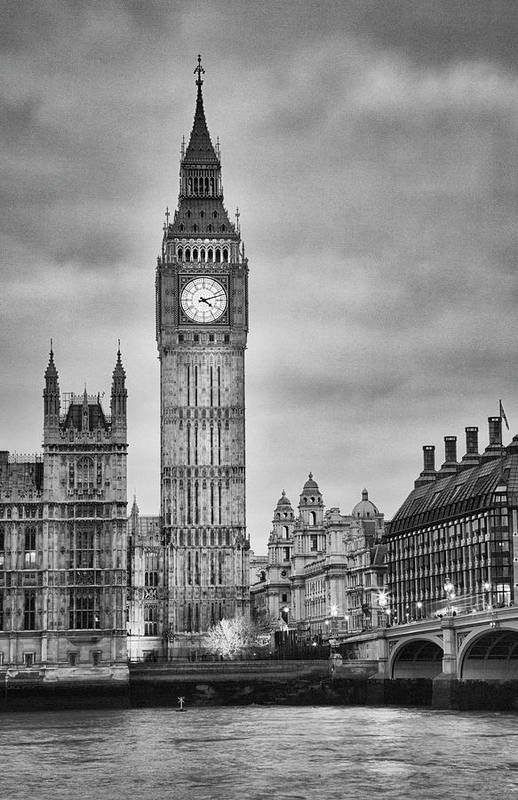 Clock Tower Art Print featuring the photograph London, Big Ben, Black And White by Elisabeth Pollaert Smith