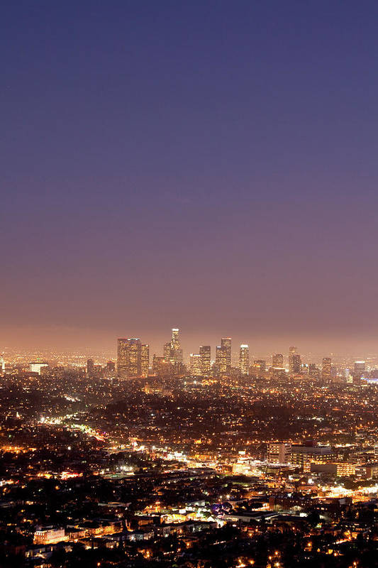 Scenics Art Print featuring the photograph Los Angeles Skyline At Twilight by Uschools