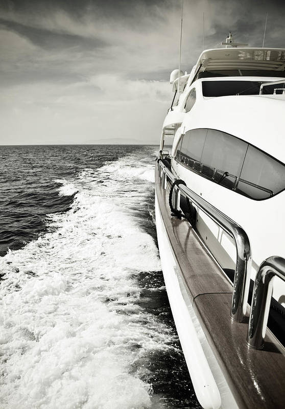 Desaturated Art Print featuring the photograph Luxury Yacht Sailing At High Speed In by Petreplesea