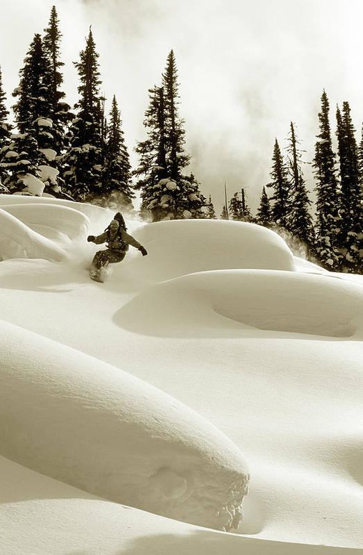 One Man Only Art Print featuring the photograph Man Snowboarding B&w Sepia Tone by Per Breiehagen