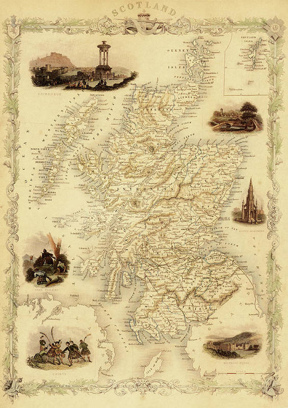 Journey Art Print featuring the digital art Map Of Scotland From 1851 by Nicoolay
