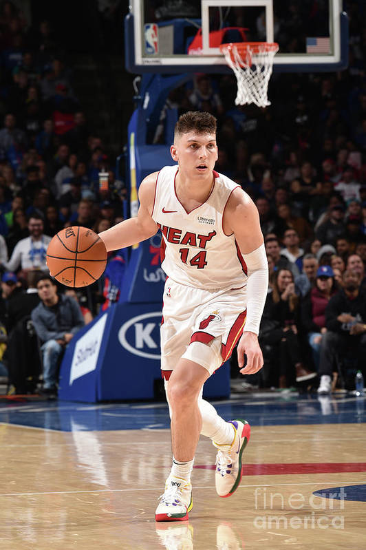 Tyler Herro Art Print featuring the photograph Miami Heat V Philadelphia 76ers by David Dow