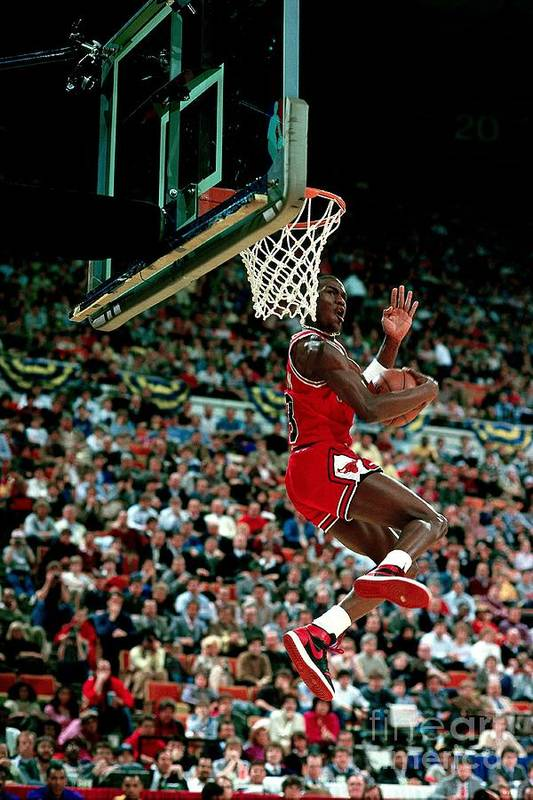 Chicago Bulls Art Print featuring the photograph Michael Jordan Competes In The Nba All by Andrew D. Bernstein