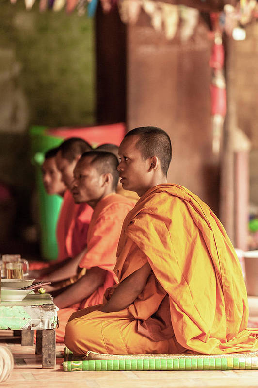 Young Men Art Print featuring the photograph Monks At Breakfast, Wat Monastery by Cultura Rm Exclusive/gary Latham