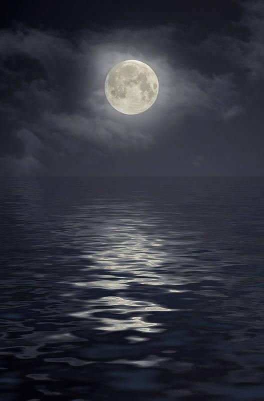 Scenics Art Print featuring the photograph Moon Under Ocean by Andreyttl