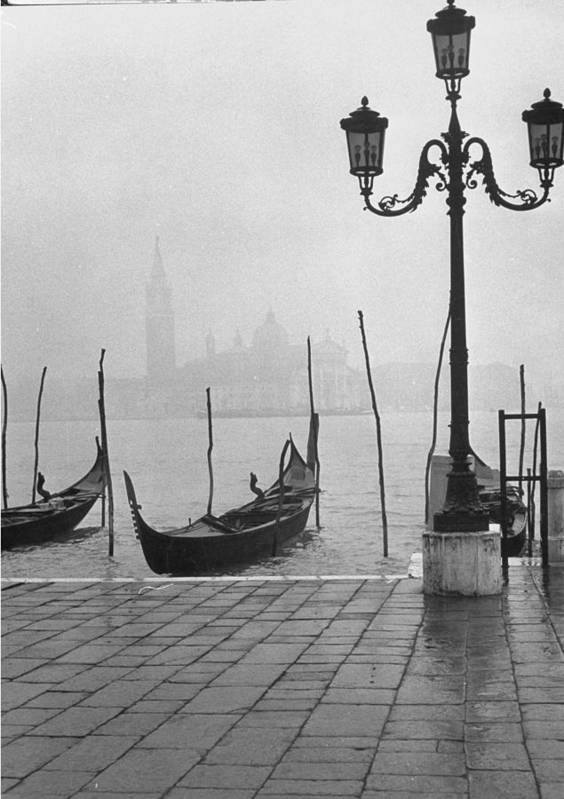 Timeincown Art Print featuring the photograph Moored Gondolas On A Foggy Grand Canal W by Dmitri Kessel