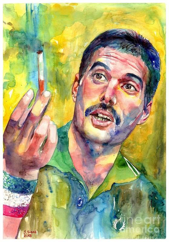 Freddie Mercury Art Print featuring the painting Mr Bad Guy - Freddie Mercury Portrait by Suzann Sines