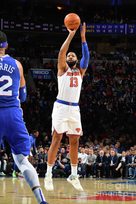 Nba Pro Basketball Art Print featuring the photograph New York Knicks V Philadelphia 76ers by Jesse D. Garrabrant