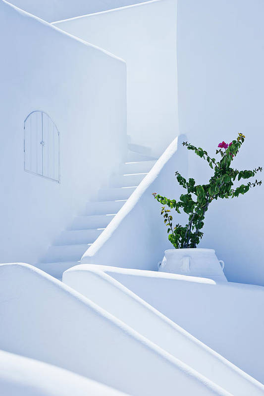 Steps Art Print featuring the photograph Nice White Stairs In Oia Village by Mbbirdy