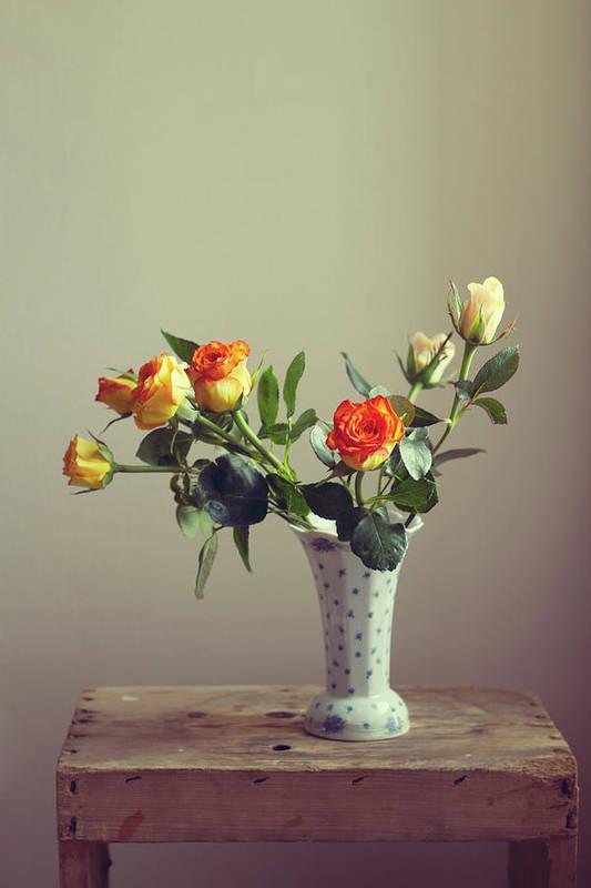 Orange Color Art Print featuring the photograph Orange Roses In Vintage Vase by Copyright Anna Nemoy(xaomena)