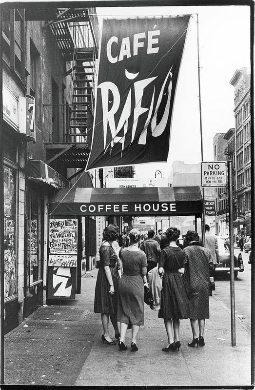 Pedestrian Art Print featuring the photograph Outside The Cafe Rafio by Fred W. McDarrah