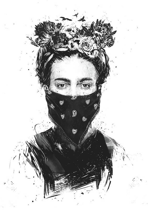 Girl Art Print featuring the drawing Rebel girl by Balazs Solti
