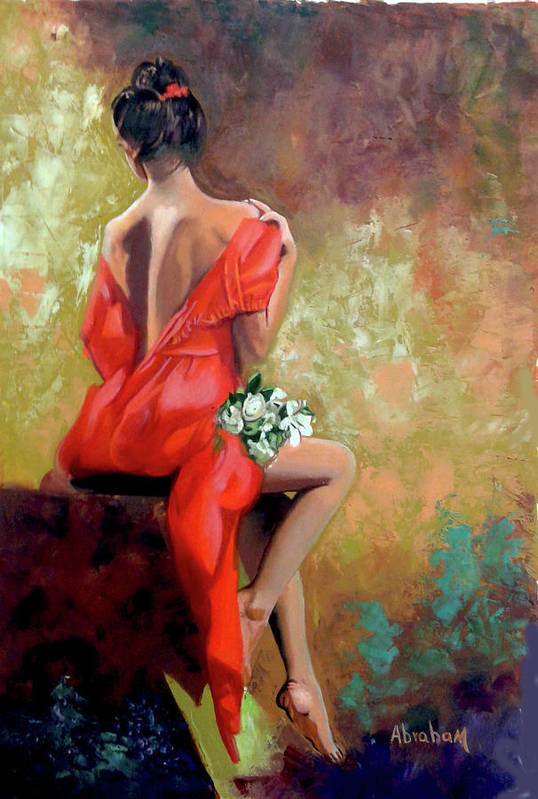 Women Art Print featuring the painting Red Lady 2 by Jose Manuel Abraham