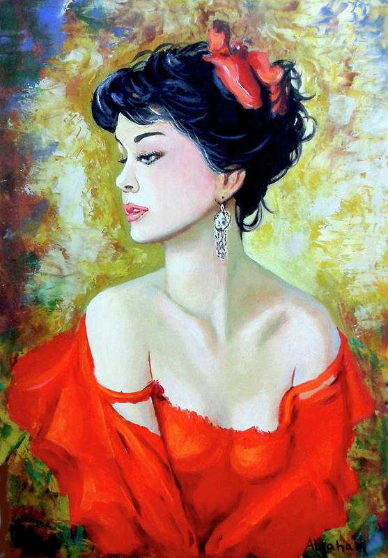 Lady Art Print featuring the painting Red Lady by Jose Manuel Abraham