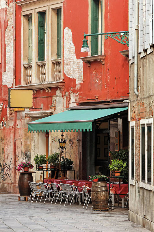 Empty Art Print featuring the photograph Restaurant In Venice by Mammuth