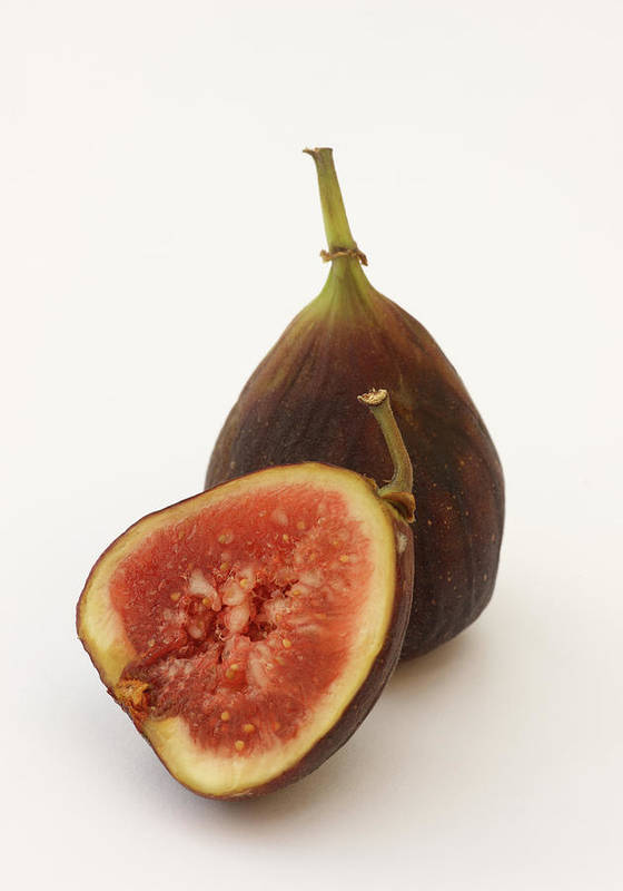 White Background Art Print featuring the photograph Ripe, Fresh Figs On White Background by Rosemary Calvert