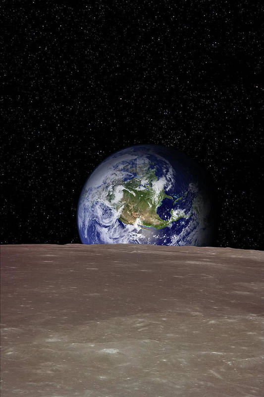 Landscape Art Print featuring the photograph Rising Earth Over Moon Surface by Photovideostock