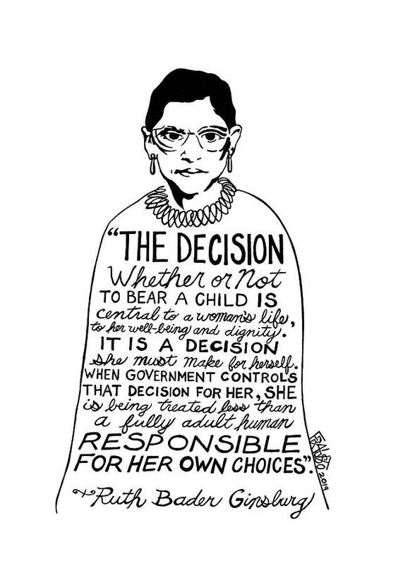 Pen And Ink Illustration Art Print featuring the drawing Ruth Bader Ginsburg Drawing 2 by Rick Frausto