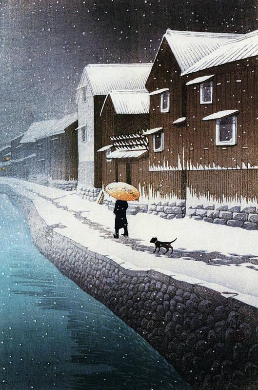 Kawase Hasui Art Print featuring the painting Selection of views of the Tokaido, Snow at Handa, near Nagoya - Digital Remastered Edition by Kawase Hasui