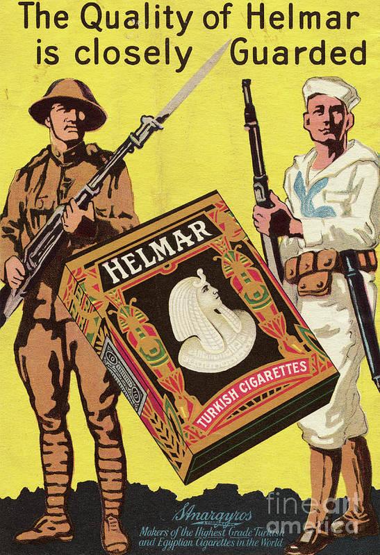 Art Art Print featuring the photograph Servicemen Advertising Helmar Cigarettes by Bettmann